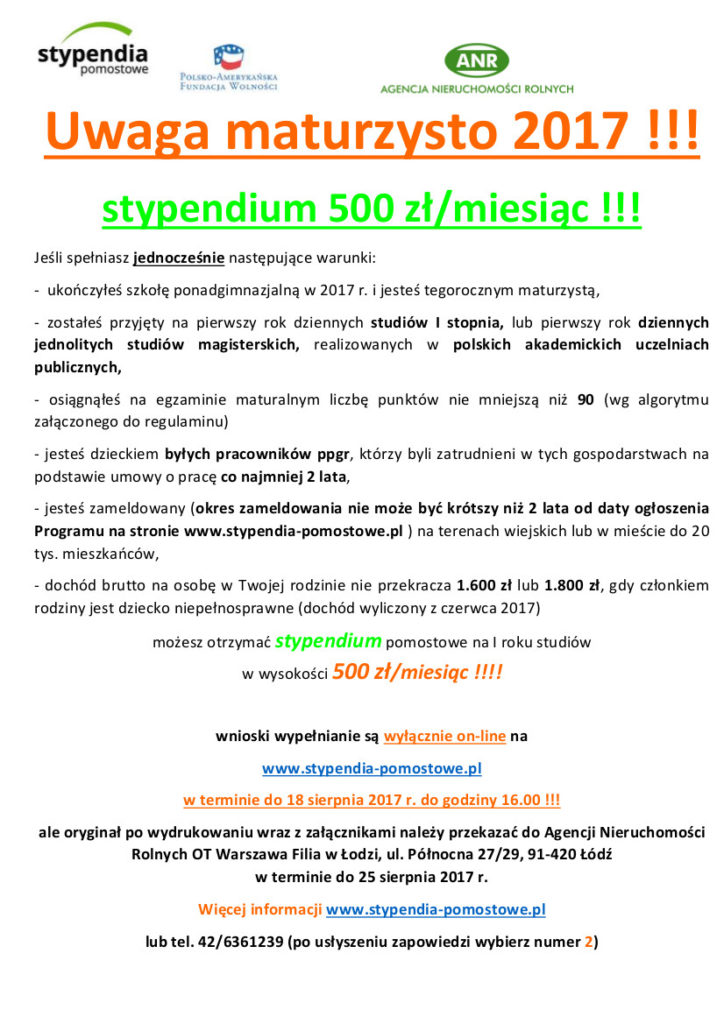 plakat_stypendia_gminy_szkoły_2017