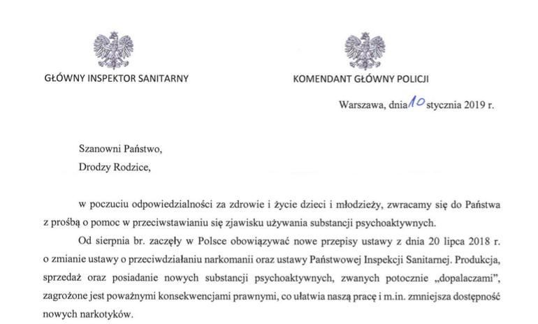 List Głównego Inspektora Sanitarnego i Komendanta Głównego Policji do rodziców