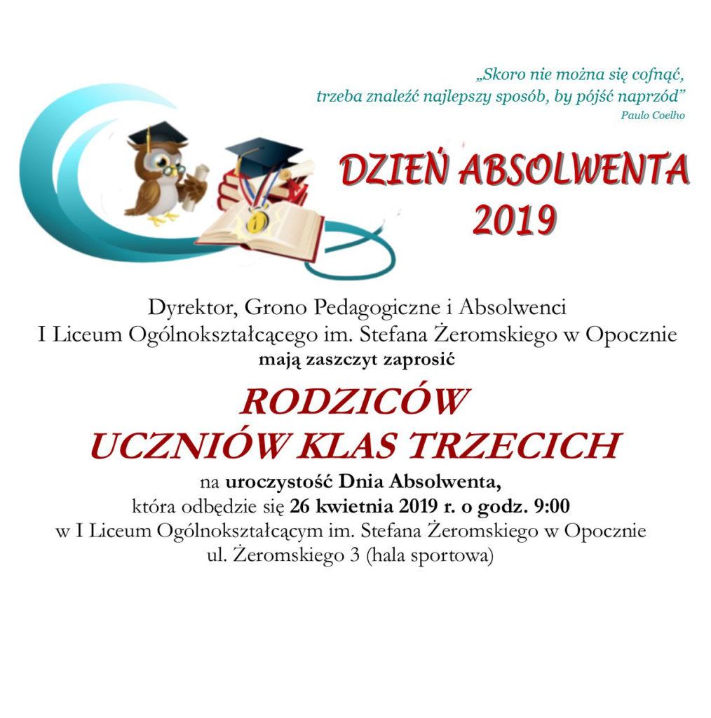 zaproszenie DLA RODZICÓW dzień absolwenta2019