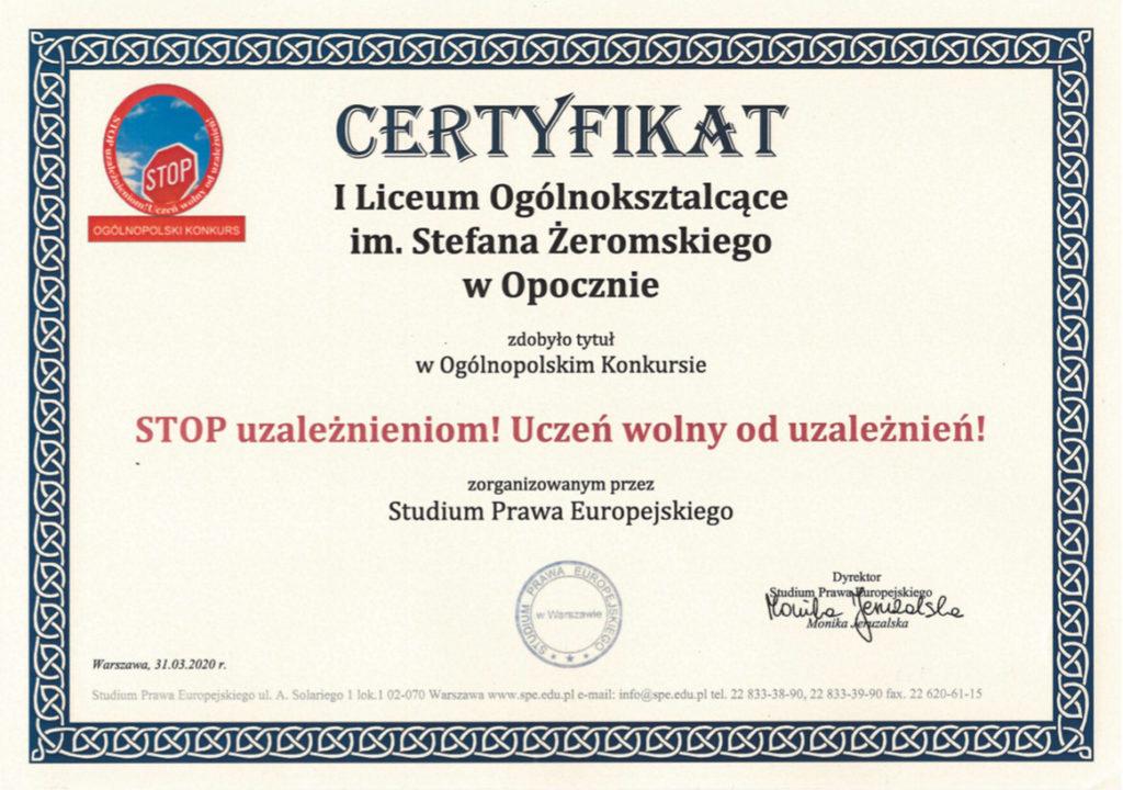 certyfikat dla szkoły_Stop uzależnieniom