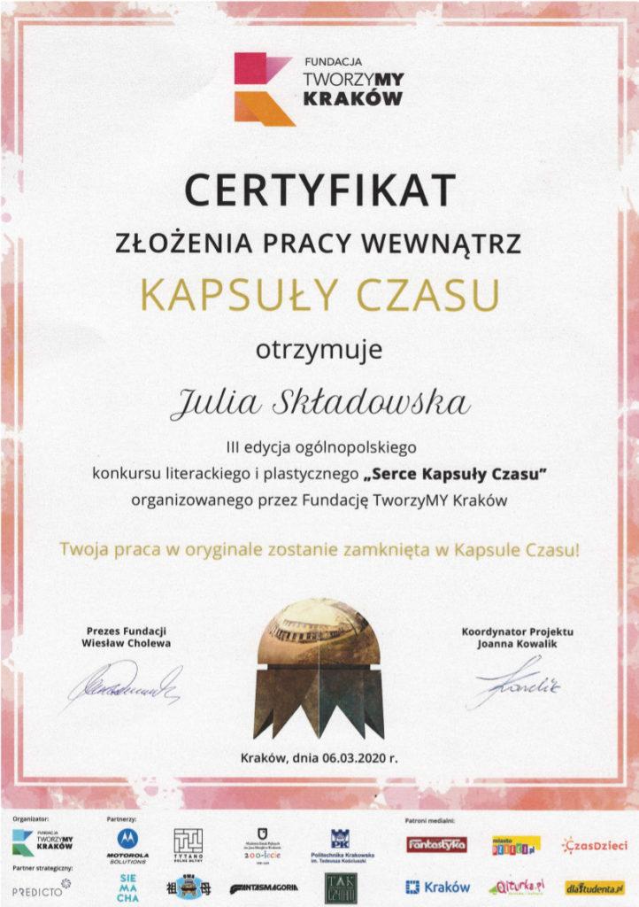 certyfikaty złożenia pracy w kapsule czasu