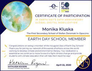 Earth Day School Certificate - Kluska
